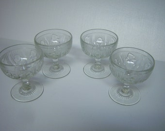 Vintage 1930's Jeannette Glass, Iris and Herringbone, Four Sherbet Stemware Dishes,  Clear Glass, Vintage Dinnerware, Made In USA