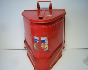 """Vintage Industrial Waste Can, Garage Oily Rag Can, 1950's Metal Can, 16"""" Tall, 13"""" Front To Back, Triangle Shape Metal Can, UpCycle Can"""