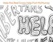 Helping Fort Mac Victims Adult Coloring Sheet, Single Printable Page, Alberta, Canada, Instant Download, Fundraiser for Red Cross