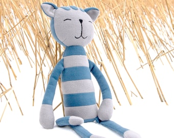 "Stuffed Cat animal. Plush cat. Blue gray striped cat. Soft big toy stripy cat named ""Oliver"". Soft tomcat with stripes. Toy for hugging."