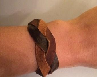Braided Brown Leather Bracelet 18 cm