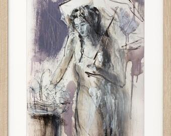 Woman drawing, Giclee art print, Charcoal Sketch, Fine art print, Figurative wall art, Wall decor, Woman print, Umbrella, Graphic artwork