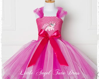 Pinkie Pie My Little Pony Girls Tutu Dress, Kids Handmade Pink Tutu Dress, Birthday Party, Christmas Present, * Lined Top*