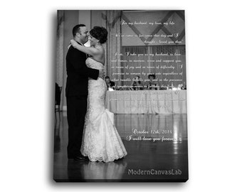 First Dance Photo Black And White on Canvas with Vows, Lyrics, Love Story, Wedding Song, Prayers. Gallery Wrapped Canvas Print.