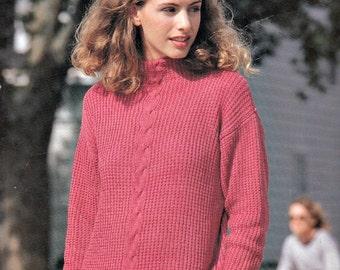 Ribbed Sweater Knitting Pattern, Knit Sweater Pattern, Womens Knitted Sweater, Rowan Cotton Glace Sweater Pattern No.575