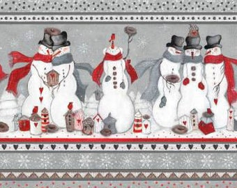 Fabri-quilt - Snowman Stripe - 103-61510- Snowman Border - Snowmen - Grey - Winter - Stripes- Holiday - Novelty - Christmas - Red