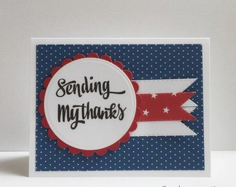 Patriotic Card - Military Thank You For Your Service Card - Memorial Day - Veterans Day - Fourth of July - Army Card - Navy Card