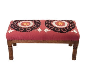 SALE-Red Suzani Bench, Suani Bench