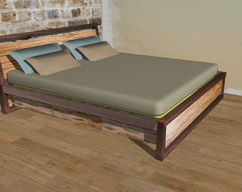 Walnut and Maple King Size Bed // Custom Design Order