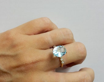 SALE! Aquamarine ring,diamond ring,prong setting ring,14k gold filled ring,gemstone ring,wedding ring,march birthstone ring,cocktail ring