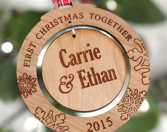 Personalised Wooden Christmas Bauble, First Christmas Together Tree Decorations