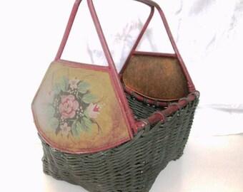 Vintage Tole Painted Wood & Wicker Basket