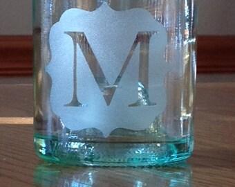 Recycled Wine Bottle Glasses, set of 4, New Monogram style