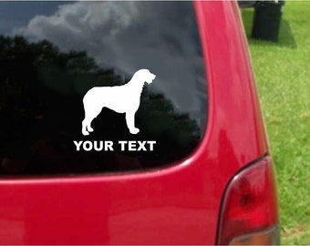 Set (2 Pieces) Irish Wolfhound Dog Sticker Decals with custom text 20 Colors To Choose From.  U.S.A Free Shipping