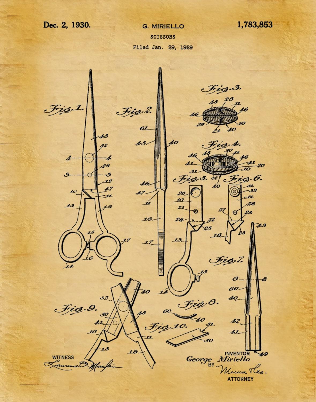Patent 1930 scissors art print poster barber shop shears patent 1930 scissors art print poster barber shop shears hair salon scissor hairdresser art beautician art beauty shop wall art malvernweather Image collections