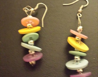 Pastel Button Dangle Earrings