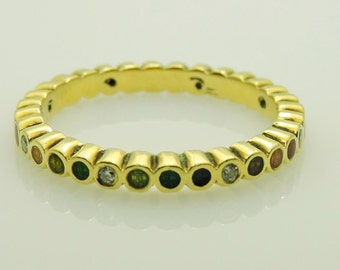 Lady's Yellow 18 Karat Hidalgo Multicolor Enamel And Diamond Band Ring Size 6.5 With 8=0.05Tw Round Diamonds