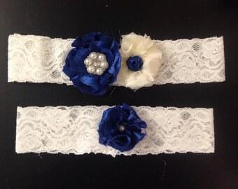 Plus Size Wedding Garter - Chiffon, Lace, Pearl and Rhinestone