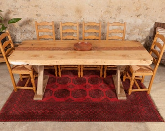 Cedar Dining Table with Coin Inlay