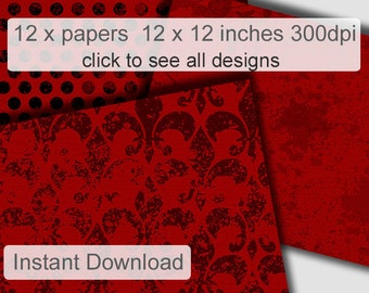 Red digital Scrapbooking paper pack distress backgrounds for personal or commercial use red and black pattern paper instant download