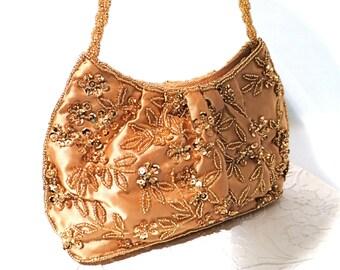 Gold Evening Bag Beaded Handbag Vintage Purses VH-102