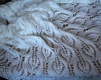 Knitted scarf shawl,  knit shawl, wraps shawls, knitted shawl, crochet shawl, White shawl
