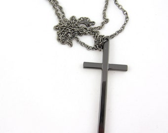 Black cross necklace, metal cross, black cross jewelry, cross pendant, charm cross necklace- long chain necklace