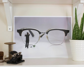 Polishing my spectacles- print A3. Poster, photography art, paper, wall art, surreal photo, surrealistic