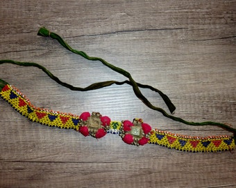 Tribal Beaded Hairband, Tribal Header, Vintage