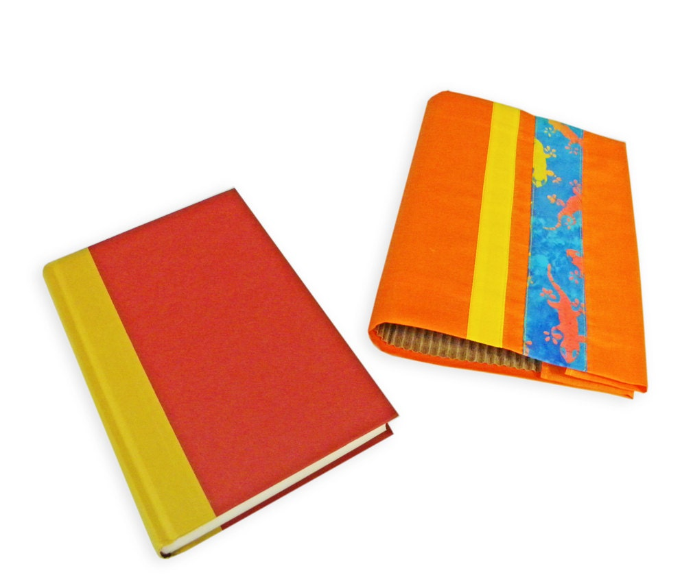 Cloth Cover Book Printing : Fabric book sleeve orange with yellow and gecko print stripe