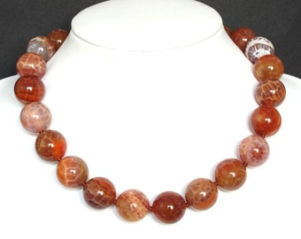 Necklace Fire Agate 18mm Round Beads 925 NSAF3116
