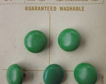 """14 Vintage Buttons, 1/2"""" Deep Green Plastic Domed Shank, Le Chic Brand, on Original Cards"""