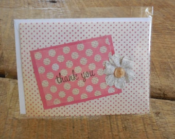 Thank You Card- Handmade Thank You- Embellished Thank You Card- Handmade Card- Flower Embellished Card- Pink Thank You