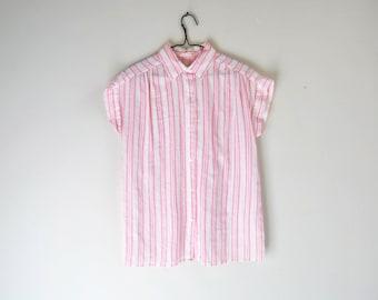 60s Candy Striper Short Sleeve Shirt