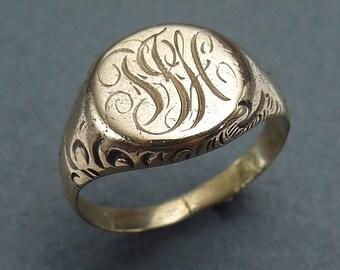 14k round signet ring size 6.5