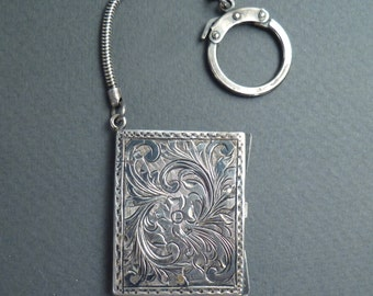 Sterling silver picture locket fob