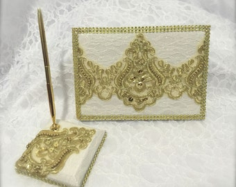 wedding guestbook and pen set, guest book, wedding signing book, gold guest book