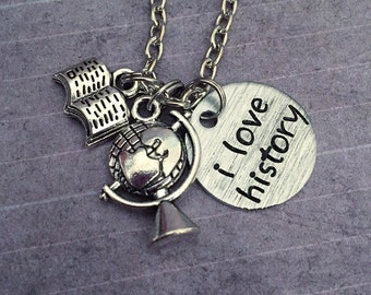 I Love History Necklace - History Jewelry - Historian Jewelry - History Teacher Jewelry - Social Studies, History, World History, Teacher