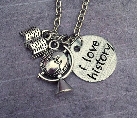 I Love History Necklace History Jewelry Historian Jewelry