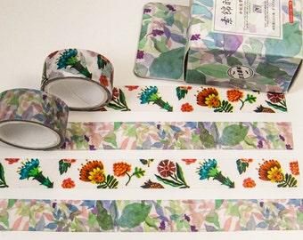 Washi masking tape - watercolor flowers / Filoxafing DIY scrapbooking decorative ribbon tape