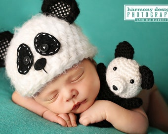 Panda Bear Toy ~ Newborn Prop ~ Stuffed Toy ~ Amigurumi ~ Photography Prop