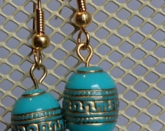 Turquoise earrings gold # 112