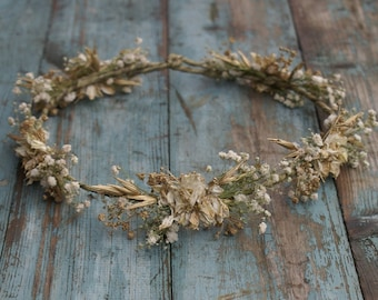 Boho Glam Dried Flower Hair Crown
