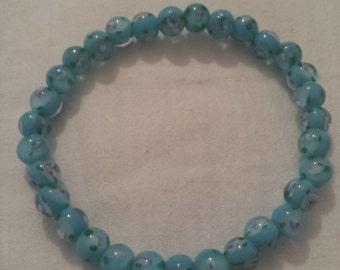 Blue Floral Glass Beaded Bracelet