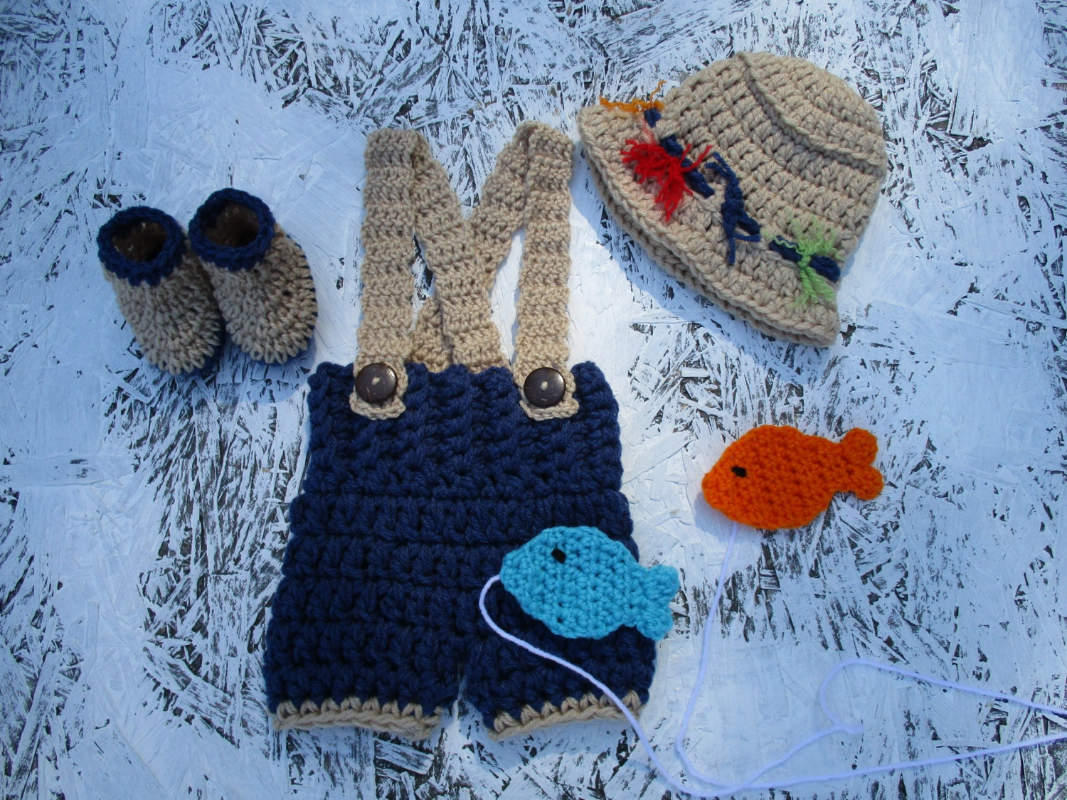 Crochet fisherman outfit baby boy fishing baby photo prop for Baby fishing outfit