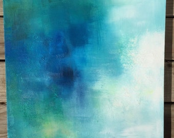 """Blue Abstract Painting - """"Cloudy Dreams"""" 20"""" x 20"""" or custom size"""