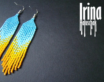 Beaded earrings, seed bead earrings, modern earrings, boho earrings, fringe earrings, beadwork jewelry, blue and yellow, tribal earrings
