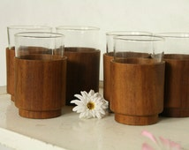 6 Vintage teak glass holders with the glasses
