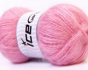Mohair Classic Light Pink Ice Yarn, Soft Pink Mohair Wool Yarn, Novelty Yarn, Worsted Weight / Bulky Yarn, Baby Yarn, 24666