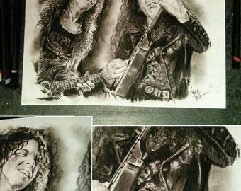 ORIGINAL hand drawn charcoal pencil drawing - Marty Friedman - Ex MEGADETH  - Size A4